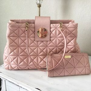 kate spade pastel pink quilted purse& wallet set